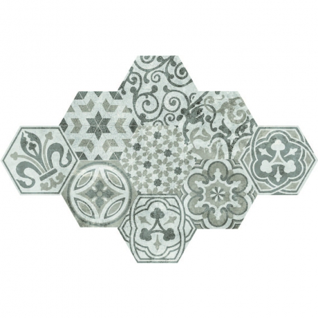 HEXAGON POTTERY TILE GHEXM 26008
