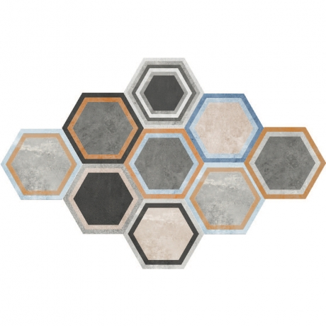 HEXAGON POTTERY TILE MIX GHEXM 26092