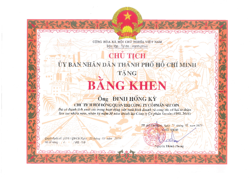 Certificate of Merits from Ministries and People's Committee